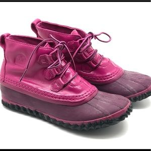 Sorel Boots Sz 5 Pink Patent Out N About Rain